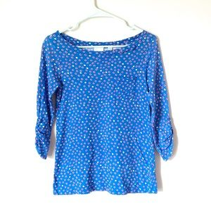 Anthropologie Red and Blue Polka dot top